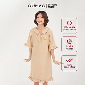 Đầm suông nữ tay bèo GUMAC phong cách năng động, hàn quốc màu be DB437