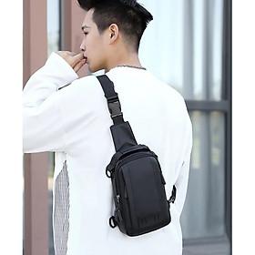 Túi đeo chéo nam , túi đeo vai , nối cáp sạc USB tiện lợi, đeo ngực đa năng đeo nhiều kiểu kết hợp balo , dây quai có thể tháo rời , vải chống nước