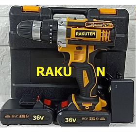 Bộ máy khoan pin RAKUTEN 36V  khoan tường, khoan sắt, khoan bê tông máy 2 pin, đảo chiều và mũi khoan