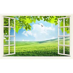 Tranh cửa sổ 3d| Tranh dán tường cửa sổ phong cảnh 3d 27
