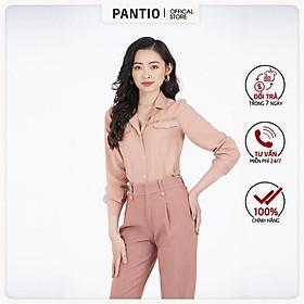 Áo sơ mi nữ chất liệu thô mỏng dài tay cổ đức đính cúc FAS52813 - PANTIO