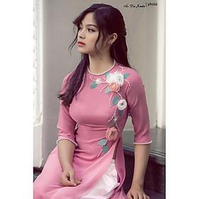 áo dài hồng vỏ đỗ hoa 3D- 171003- trang phục truyền thống Việt Nam