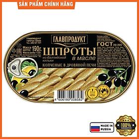 Cá trích baltic ngâm dầu hiệu Glavproduct, 190 g
