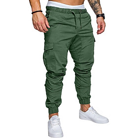 Men Stylish Casual Multi Pocket Long Trousers Sports Ankle Banded Pants Birthday Festival Gift