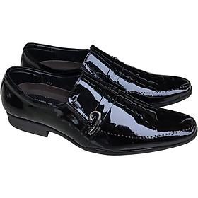 Giày tây nam Trường Hải không dây da  bóng da bò thật không bong tróc đế cao su không trơn hàng may chắc chắn GT085