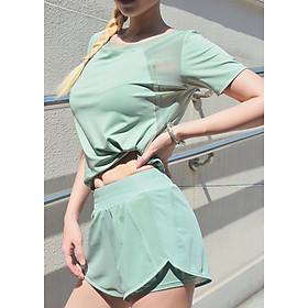 Bộ đồ tập thể thao nữ quần short áo cộc tay tập gym, yoga chất thun cao cấp - ZBT03