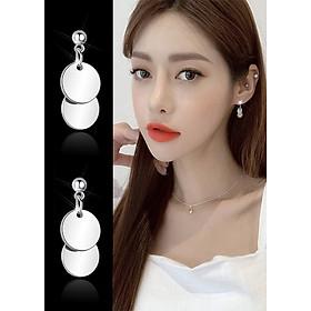 Bông tai nữ hai hình tròn phong cách Hàn Quốc