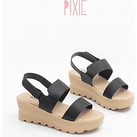 Giày Sandal Đế Xuồng 5cm Siêu Nhẹ Quai Ngang Màu Đen Pixie X425