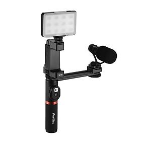 Tay Cầm Kép Viewflex VF-H6 Quay Video Kèm Thiết Bị Điều Khiển Đèn LED Micro Cho Iphone 6 6s Plus Samsung Galaxy S8+ S8 Note 3 Huawei