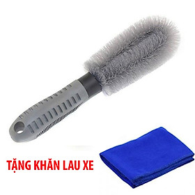 (Tặng khăn lau xe) Chổi cọ rửa xe ô tô xe hơi cọ mâm xe loại tốt (cán cao su chắc chắn, lông sợi cước bền)