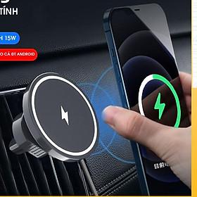 Bộ sạc Cao Cấp từ tính hút không dây Kiêm Luôn Giá đỡ điện thoại trên ô tô sạc nhanh 15W