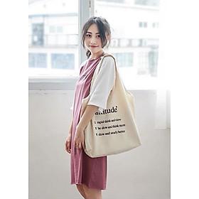 Túi Tote Vải Ginko Hot Trend Attitude Phong Cách Hàn Quốc K13 - Tặng 1 Cup Holder