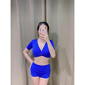 Bikini, Đồ Bơi Đi Biển Nữ Hai Mảnh Xoắn Ngực, Quần Đùi Nhúng Che Khuyết Điểm Đẹp Oderi KG10