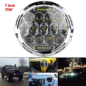 7'' 75W LED Round Headlight H4 DRL Hi/Lo Beams for Jeep Wrangler CJ JK TJ