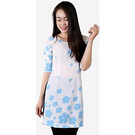 Áo dài cách tân nữ ADV1711HXA họa tiết hoa xanh nền trắng