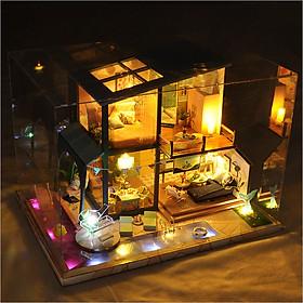 Mô hình nhà DIY Doll House Swimming Pool Duck Holiday Villa Kèm Mica Chống bụi