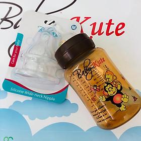 Bình sữa bằng nhựa PP Baby Kute 260ML tặng kèm 2 núm Silicone siêu mềm nhập khẩu từ Thái Lan