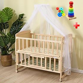 Nôi cũi cho bé đa năng, Giường cũi gỗ cho bé bền đẹp mẫu mới 2021, cũi 2 tầng đa năng, được làm từ gỗ thông an toàn tuyệt đối cho bé, TẶNG KÈM THÁP XẾP CHỒNG VÒNG TRÒN GẰNG GỖ CHO BÉ