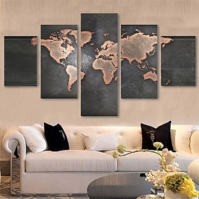 5pcs Modern Canvas Home Wall Decor Art Painting Picture Print Unframed World Map