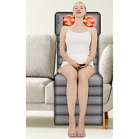 Đệm Massage Toàn Thân Hồng Ngoại, Mát Xa Toàn Thân Đa Chức Năng Với Phần Gối Đầu Có Hồng Ngoại, Massage Đảo Chiều Bằng 16 bi Cao Cấp - Bộ Điều Kiển Cầm Tay - Nệm Massage Gấp Gọn