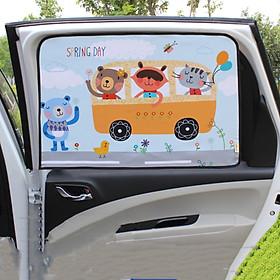 Màn rèm che nắng hít nam châm dán cửa ô tô xe hơi, rèm vải dầy 2 lớp cản sáng mẫu hoạt hình dễ thương - Hàng chính hãng