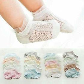 Bộ 5 đôi vớ tất lưới chống mồ hôi trộm cho em bé từ 1 - 36 tháng tuổi - Màu ngẫu nhiên