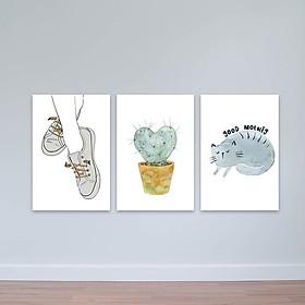 """Bộ 3 tranh treo tường hiện đại """"Good morning"""" W2239 Canvas"""