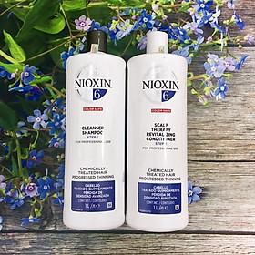 Bộ dầu gội xả Nioxin 6 Chemically Treated Hair Progressed Thinning Cho tóc uốn duỗi tẩy có dấu hiệu thưa rụng Mỹ 1000ml