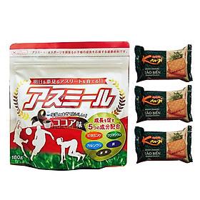 Sữa Asumiru Nhật Bản 180g - Vị cacao ( cho bé 3-16 tuổi ) – Phát triển chiều cao, trí não; tăng sức đề kháng và khả năng miễn dịch – Tặng 03 bánh Crakers tảo biển