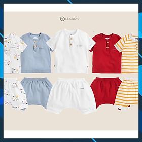 LE COON - LC04_11 Bộ đồ quần áo trẻ em chui cổ (3 tháng -  3 tuổi) chất liệu 100% cotton cho bé trai, bé gái