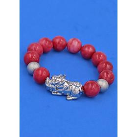 Chuỗi hạt đeo tay Đá Hồng Ngọc 14 ly - Vòng đeo tay Tỳ Hưu hạt inox - hợp mệnh Hỏa, mệnh Thổ - Vòng đeo tay size lớn