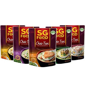 Combo 5 gói cháo tươi Sài Gòn Food vị (thịt bằm, sườn non, lươn, cá lóc, cá hồi) 270g