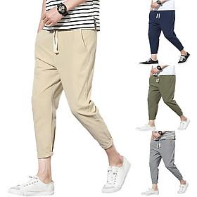 Men Ninth Pants Cotton Linen Drawstring Casual Sports Trousers for Adluts