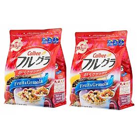 Set 02 túi ngũ cốc trái cây ăn liền Calbee (gói đỏ) - Loại 482gr - Nhập khẩu Nhật Bản