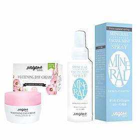 Combo Kem Trắng Da Ban Ngày Và Xịt Khoáng Nagano Japan - Whitening Day Cream & Mineral Facial Mist Spray - Ngăn ngừa hình thành mụn đầu đen và tàn nhang & Bổ sung dinh dưỡng và cân bằng độ ẩm cho da