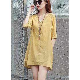 Đầm suông tay lỡ xẻ tà phong cách Hàn Quốc - DS37