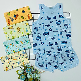 Set 5 bộ quần áo trẻ em ba lỗ họa tiết mùa hè S-TomTom Baby, chất vải cotton 100% cho bé trai, bé gái