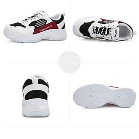Giày Nam Thể Thao Sneaker Trắng Vải Dệt Đế Cao Su Nguyên Khối Siêu Êm Chân Phối Đen Đỏ Cực Chất Phong Cách Hàn Quốc (Hình thật) CTS-GN052-16