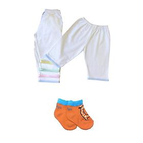 Combo 5 quần dài cotton trắng viền màu JOU ( Tặng kèm 1 đôi tất cotton Tomtom Baby như hình)