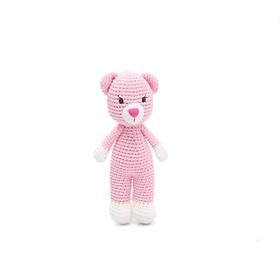 Thú bông bằng len Mèo Suri hồng dáng đứng nhí - sản xuất thủ công handmade in Việt Nam - chất liệu 100% cotton, hàng chính hãng xuất khẩu - May's Hand (20cm), đồ chơi an toàn cho trẻ em đến mọi lứa tuổi