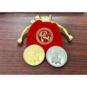 Bộ 2 đồng xu trâu đài loan mạ kim loại màu vàng bạc làm , Quà tặng may mắn độc đáo ý nghĩa ngày Tết, vật phẩm phong thủy cầu may mắn, làm quà tặng, tiền lì xì - The Merrick Mint - PVN2239