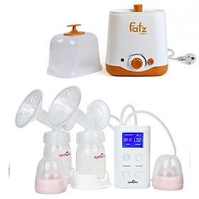 Combo Máy Hút Sữa Spectra 9Plus + Máy Hâm Nóng Và Tiệt Trùng 2 Bình Cổ Rộng FatzBaby FB3012SL