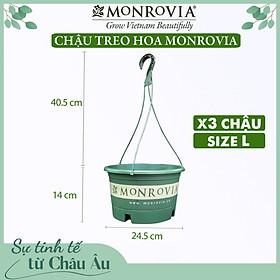 3 Chậu treo trồng cây MONROVIA Size L, Dòng T-series, chậu nhựa treo trang trí, trồng cây cảnh ban công, chậu trồng hoa, thiết kế tinh tế, thoát nước tốt, nhựa cao cấp PP, nhập khẩu, tiêu chuẩn Châu Âu