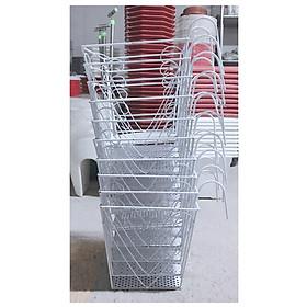 10 Giỏ Sắt Hình Vuông 24x23cm - Màu TRẮNG Treo Chậu Hoa Lan Can Ban Công