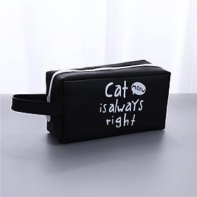 Hộp bút nhựa vuông họa tiết hình mèo - nhiều màu - tặng 1 bút mực đen mẫu ngẫu nhiên