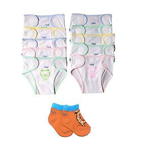 Combo 10 tả sơ sinh cotton màu trắng -JOU001 (Tặng kèm 1 đôi tất sơ sinh cotton Tomtom Baby như hình)