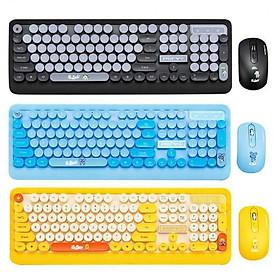 Bộ bàn phím và chuột không dây Siêu Xinh thời trang K68 màu đen vàng xanh sặc sỡ tương thích máy tính, laptop, pc