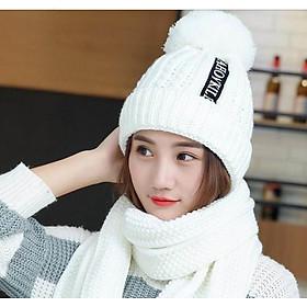 Mũ len nữ kèm khăn phong cách Hàn, sét nón len khăn cao cấp màu trắng