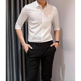 Combo 2 sản phẩm: 1 áo sơ mi nam trắng+ 1 quần âu nam đen