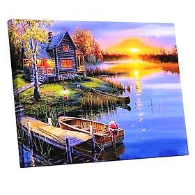 Tranh sơn dầu số hoá tự vẽ đã căn sẵn khung 40x50 cm - Ngôi nhà bên hồ PH9393